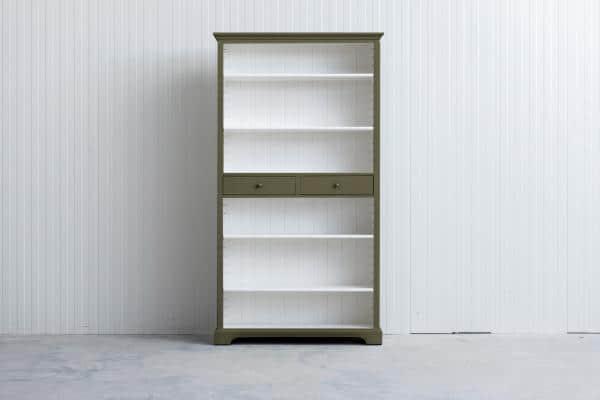 Landelijke boekenkast Bo 2-laden Rietgroen.