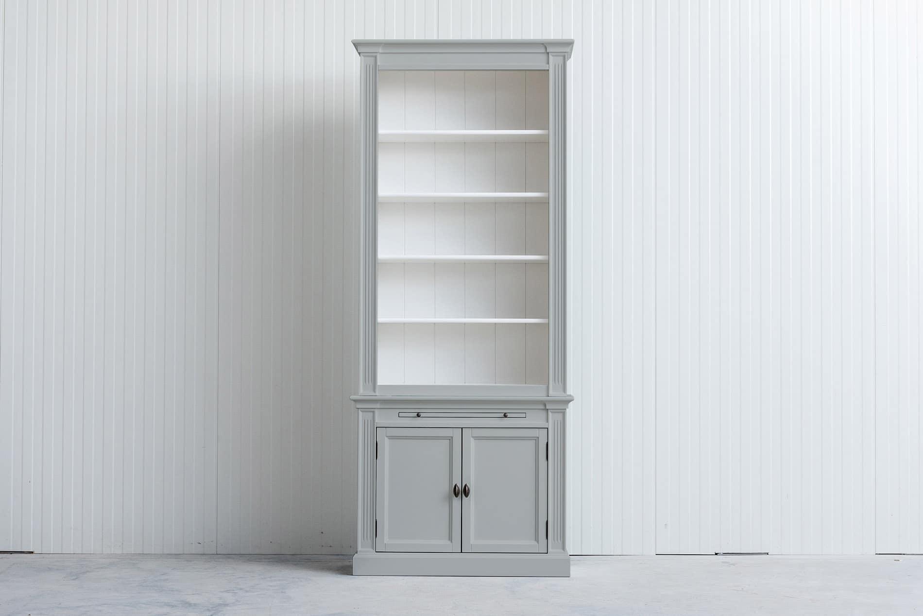 Landelijke boekenkast 1×4 m – Lichtgrijs – RAL7035