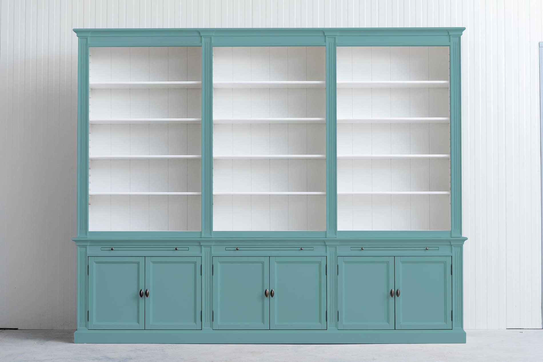 landelijke boekenkast bo 3m pastel turquoise