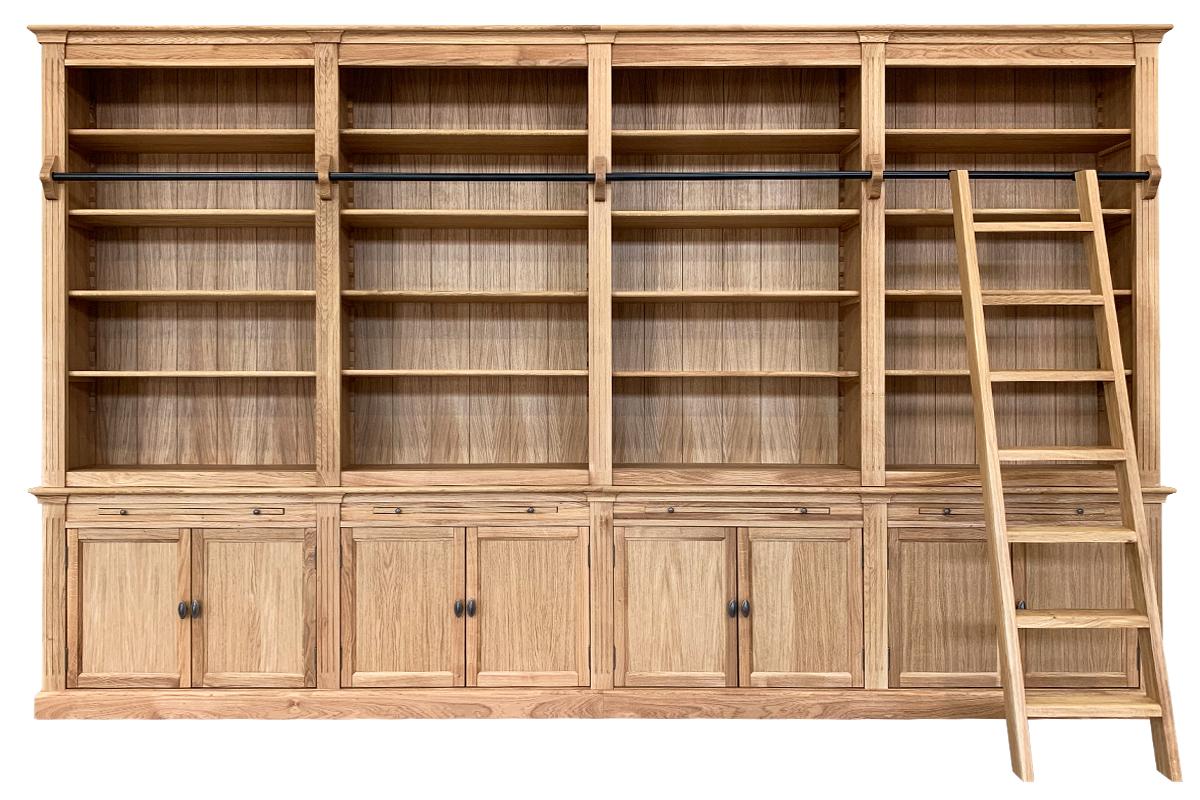 Massief-eiken boekenkast-met -trap-400 cm