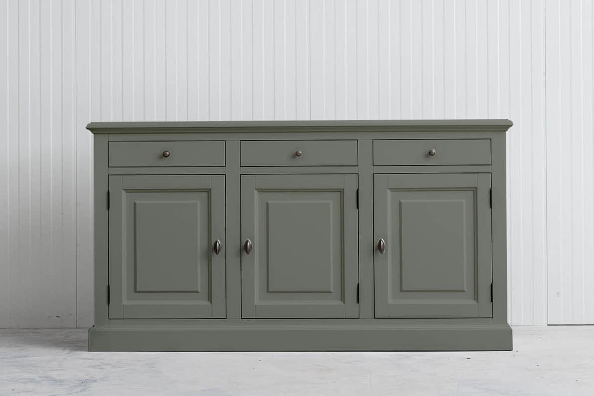 Landelijk Dressoir Bo 3-deur 3-laden Cementgroen