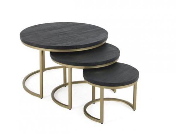 Sidetable set van 3 - zwart/goud