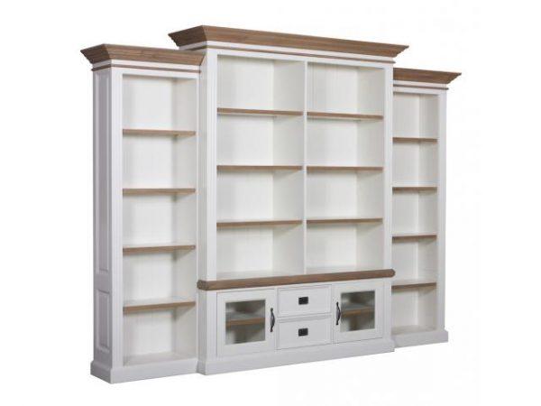 Landelijke Boekenkast Orlando Oak in 3 delen glazen deurtje