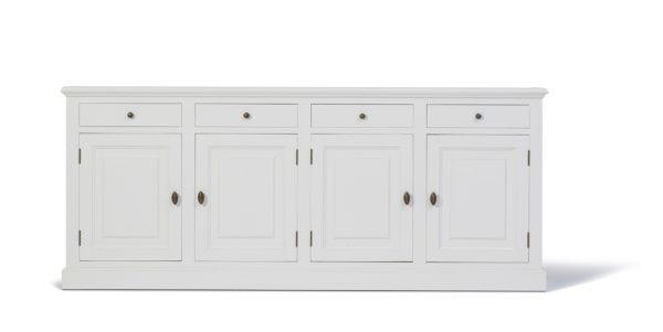 Landelijke Dressoir Bo 4-deuren 4-laden wit