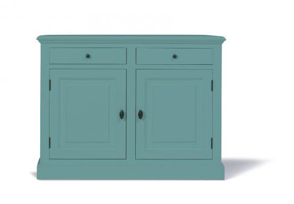 Landelijk dressoir Bo 2-deuren 2-laden Pastel-turquoise.