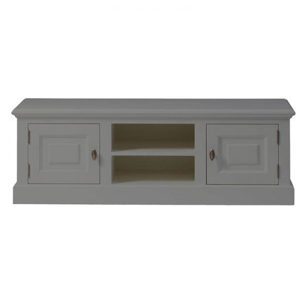 Landelijk Tv-meubel Bo 2-deuren 2-open vak Grijs-Aluminiumkleurig.