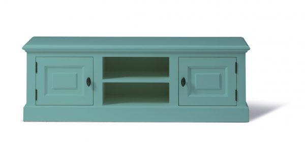 Landelijk Tv-meubel Bo 2-deuren 2-open vak Pastel-turquoise.