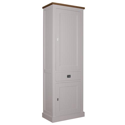 Landelijke Bergkast Square Oak 2-Dichte-deuren 1-laden Rechtsdraaiend.