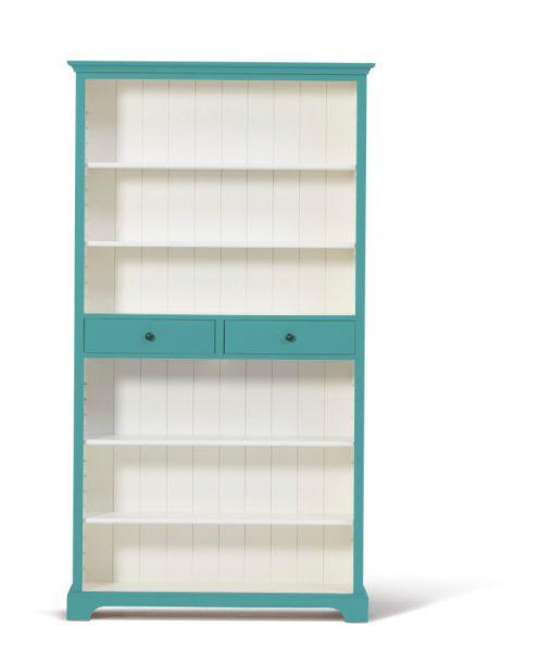 Landelijke boekenkast Bo 2-laden Pastel-Turquoise.