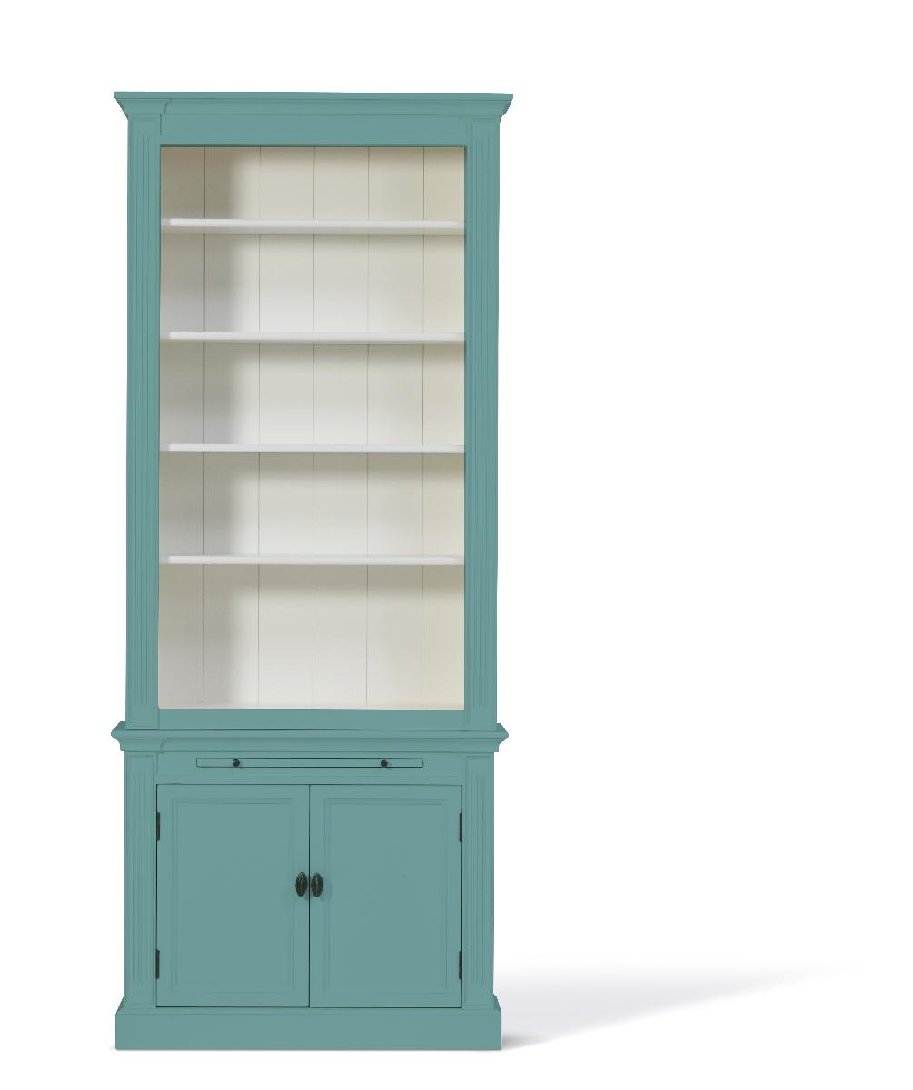 Landelijke Boekenkast Bo Pastel-Turquoise 1M.
