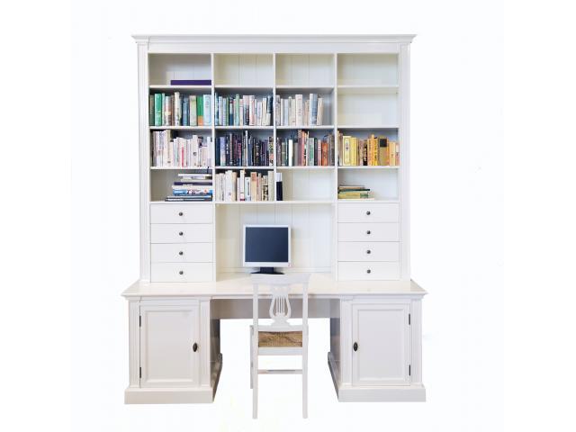 landelijke boekenkast bo secretaire