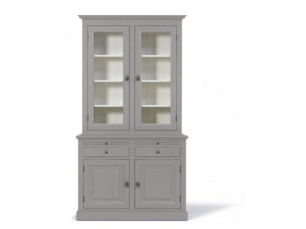 Landelijke Vitrinekast Bo 2x2- deur 2-laden grijs.