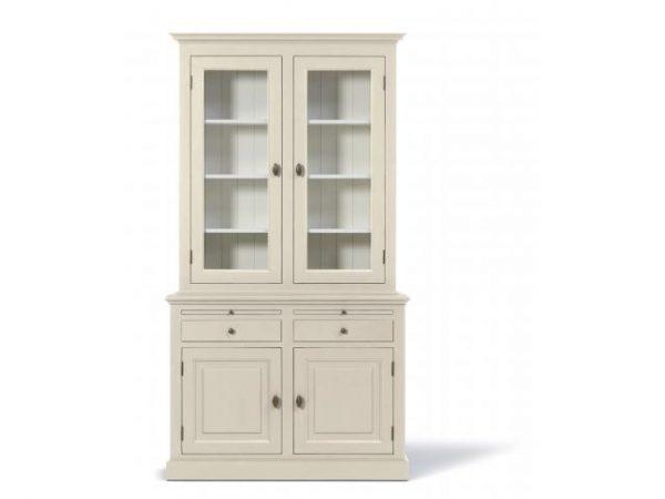 Landelijke Vitrinekast Bo 2x2-deuren 2-laden Off-White.