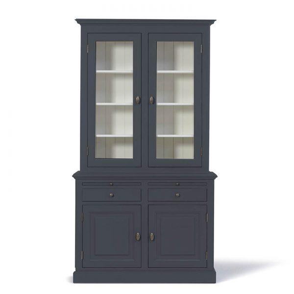 Landelijke Vitrinekast Bo 2x2-deuren 2-laden Grafietgrijs.
