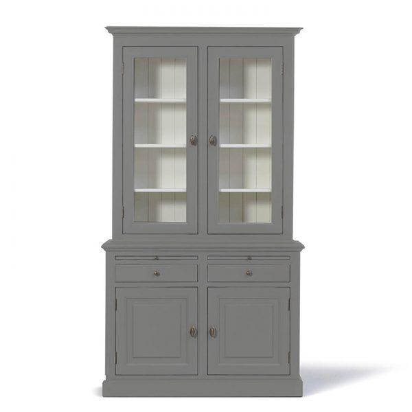 Landelijke Vitrinekast Bo 2x2-deuren 2-laden Grijsaluminiumkleur.