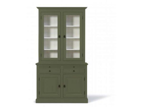 Landelijke Vitrinekast Bo 2x2-deuren 2-laden groen.