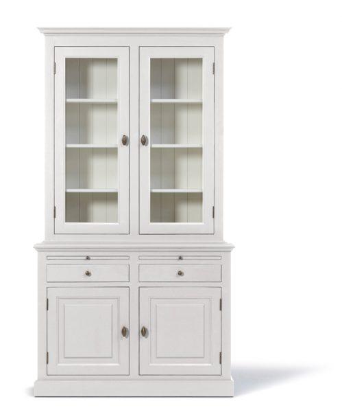 Landelijke Vitrinekast Bo 2x2-deuren 2-laden wit.