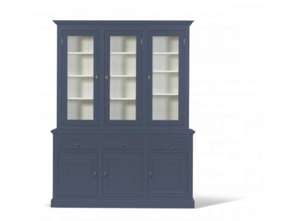 Landelijke Vitrinekast Bo 2x3-deuren 3-laden duifblauw.