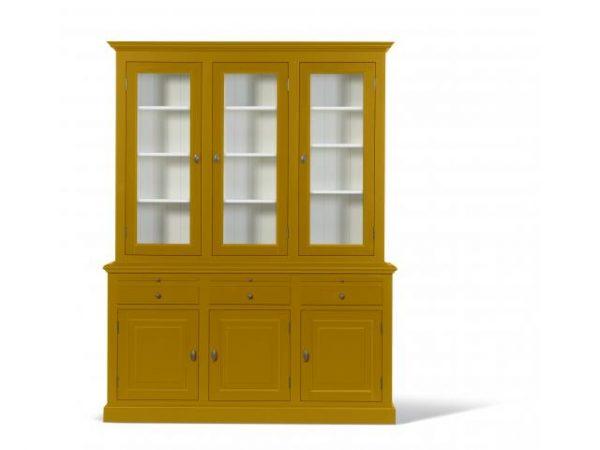 Landelijke Vitrinekast Bo 2x3-deuren 3-laden goudgeel.
