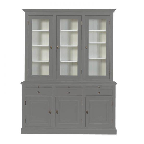 Landelijke Vitrinekast Bo 2x3-deuren 3-laden Grijs-Aluminium.