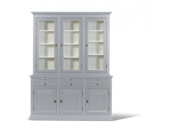 Landelijke Buffetkast Bo 2x3-deuren 3-laden grijs.