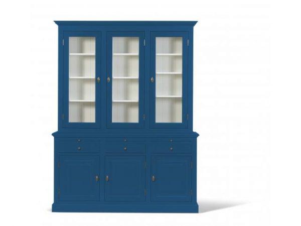 Landelijke Vitrinekast Bo 2x3-deuren 3-laden hemelsblauw.