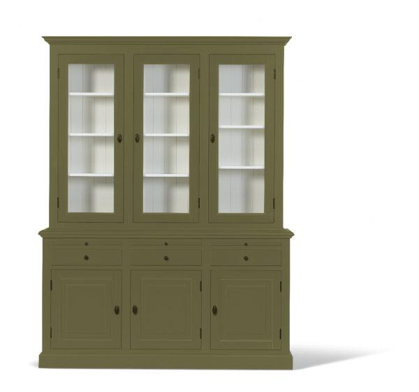 Landelijke Vitrinekast Bo 2x3-deuren 3-laden Olijf Groen