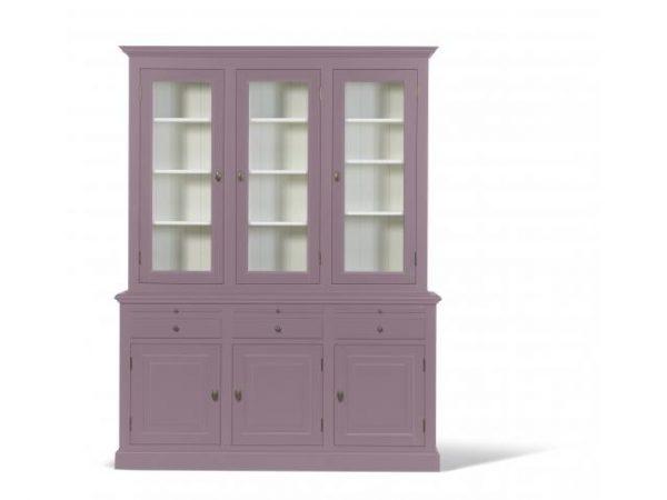 Landelijke Vitrinekast Bo 2x3-deuren 3-laden violet.