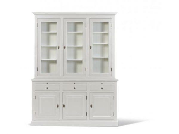 Landelijke Vitrinekast Bo 2x3-deuren 3-laden wit.
