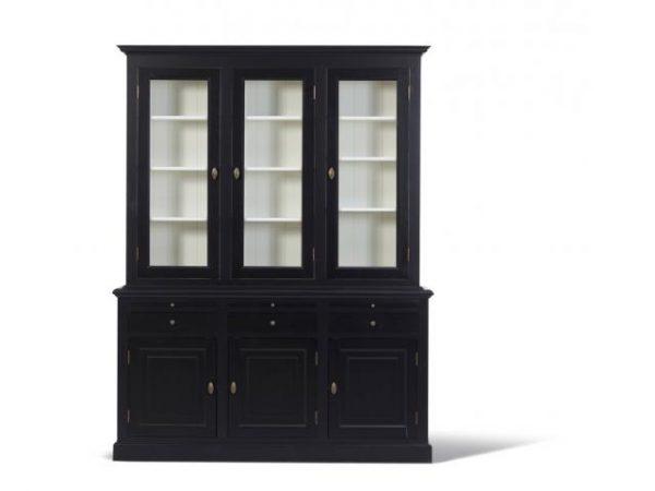 Landelijke Vitrinekast Bo 2x3-deuren 3-laden zwart.