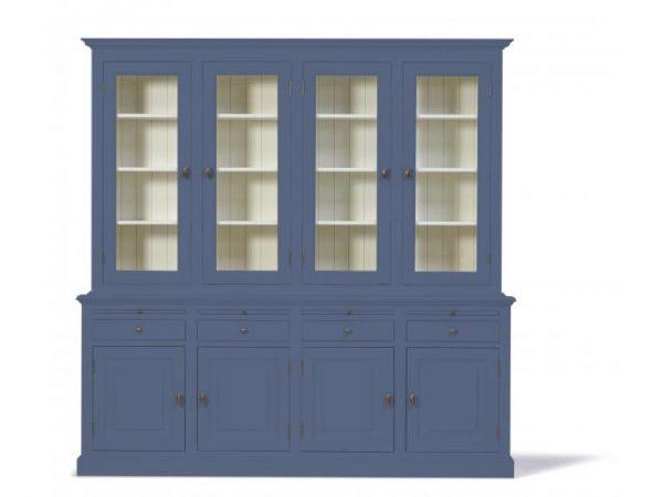 Landelijke Vitrinekast Bo 2x4-deuren 4-laden duifblauw.