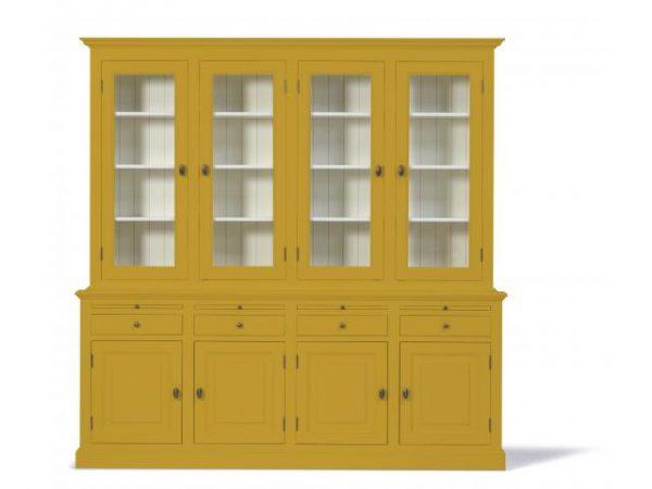 Landelijke Vitrinekast Bo 2x4-deuren 4-laden goudgeel.