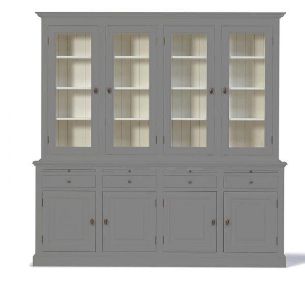 Landelijke Buffetkast Bo 2x4-deuren 4-laden Grijs-Aluminiumkleurig.