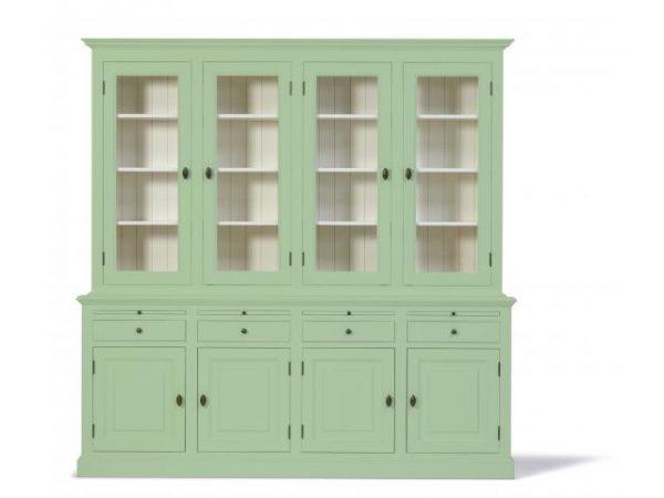 Landelijke Vitrinekast Bo 2x4-deuren 4-laden Wit-groen.