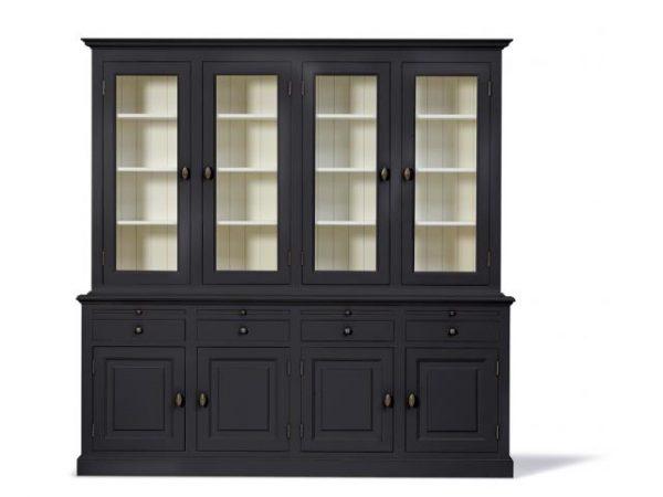 Landelijke Vitrinekast Bo 2x4-deuren 4-laden zwart.