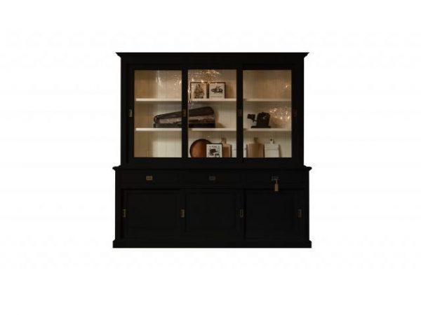 Landelijke Vitrinekast Bo met schuifdeuren 230cm zwart