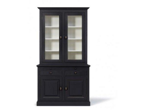 Landelijke Vitrinekast Bo 2x2-deuren 2-laden zwart.