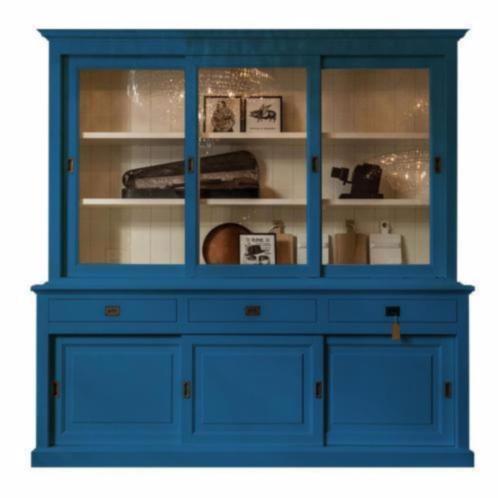 Landelijke Vitrinekast Bo met schuifdeur hemelsblauw 230 cm