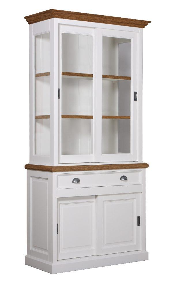 Landelijke Vitrine Clearglass Oak 2x2 Schuifdeuren 1-laden-