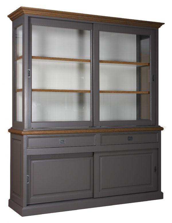 Landelijke Vitrine Clearglass Oak 2x2 Schuifdeuren 2-laden