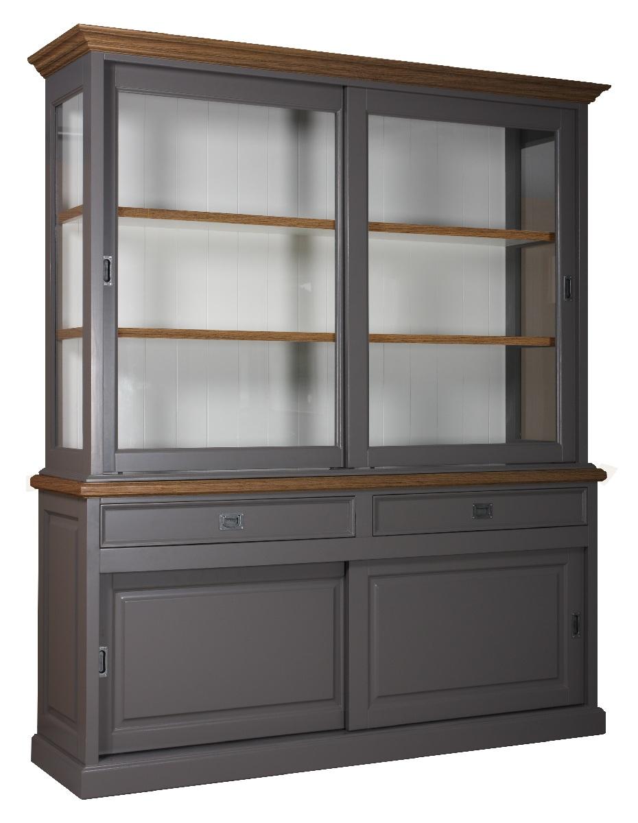 landelijke-vitrine-clearglass-oak-2×2-schuifdeuren-2-laden-kastenn.nl_