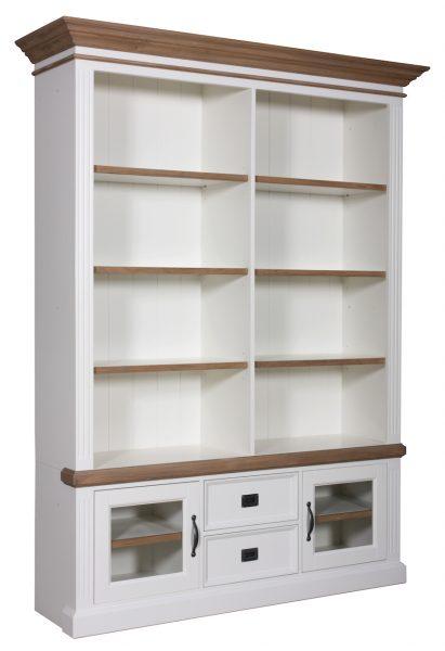 Landelijke Boekenkast Orlando Oak glazen deurtjes 2-Deurs 2-laden