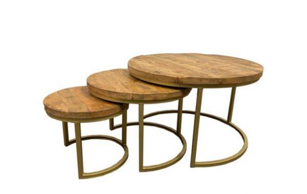 Sidetable set van 3 - naturel/goud
