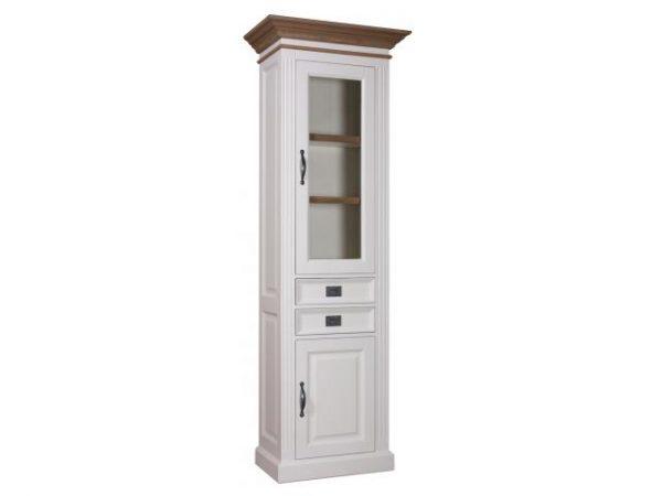 Landelijke Vitrinekast Orlando Oak 70cm 2x1-deuren 2-laden R