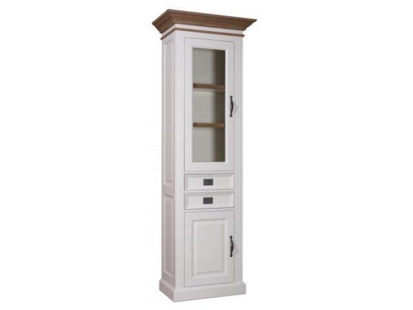 Landelijke Vitrinekast Orlando Oak 70cm 2x1-deuren 2-laden L